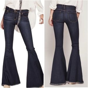 Free People Indigo Super Flare Raw Hem Jeans